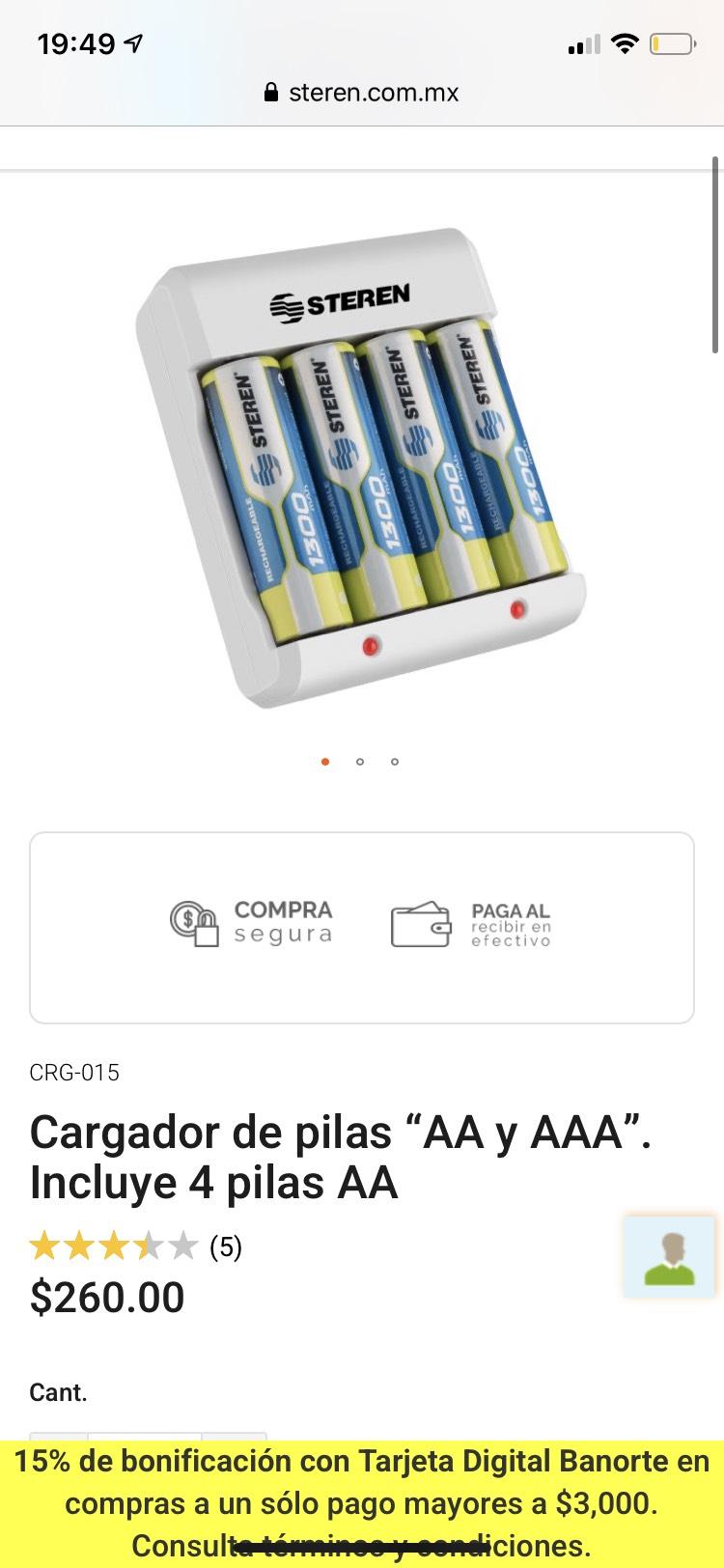 """Steren: Cargador de pilas """"AA y AAA"""". Incluye 4 pilas AA"""