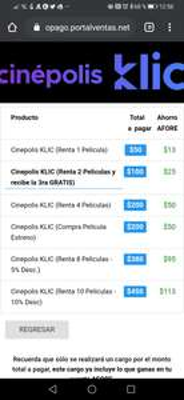 Ganahorro: 3 rentas de cinepolis klic por 100 pesos + 25 pesos de ahorro para el afore