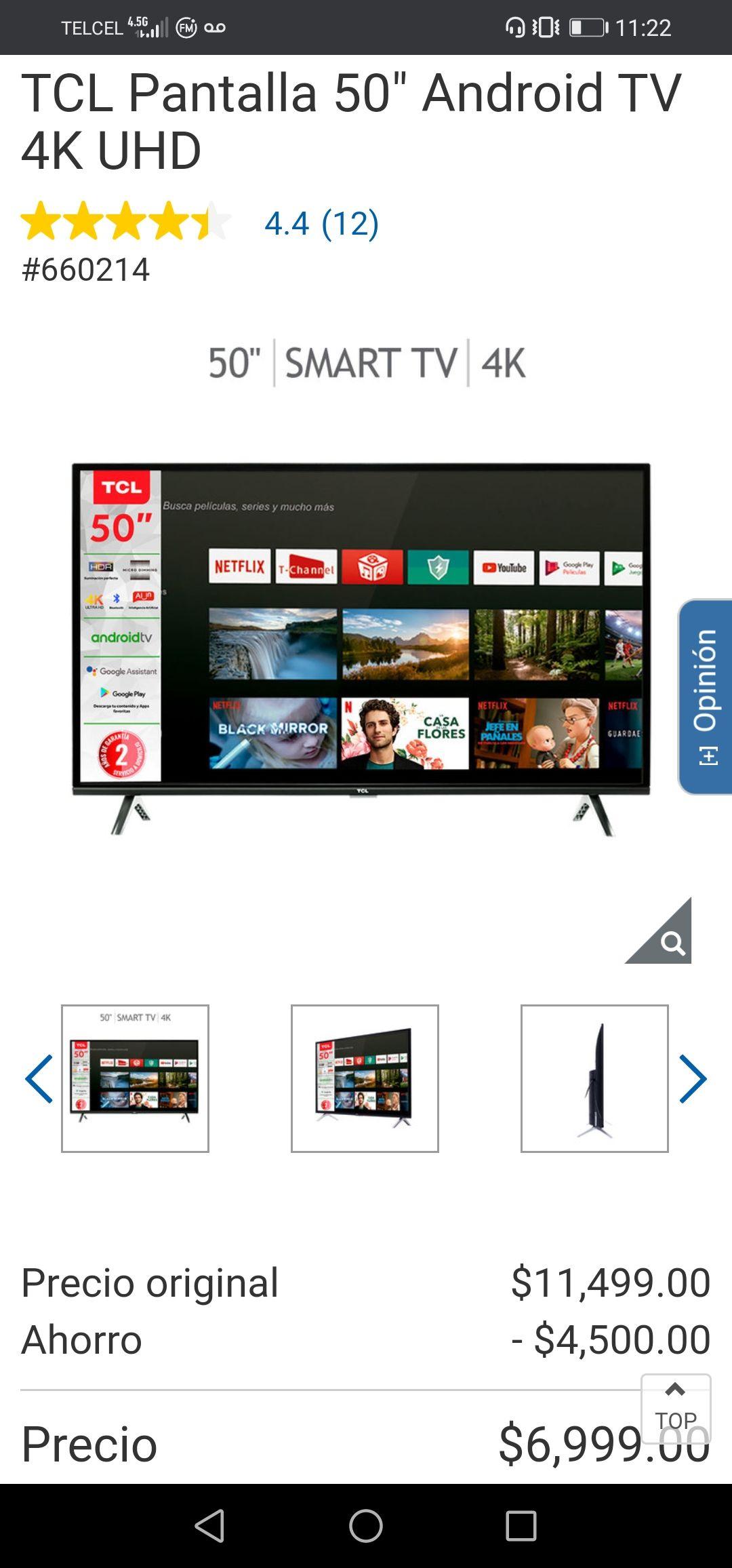 """Costco: TCL pantalla 50"""" Android TV 4k UHD"""