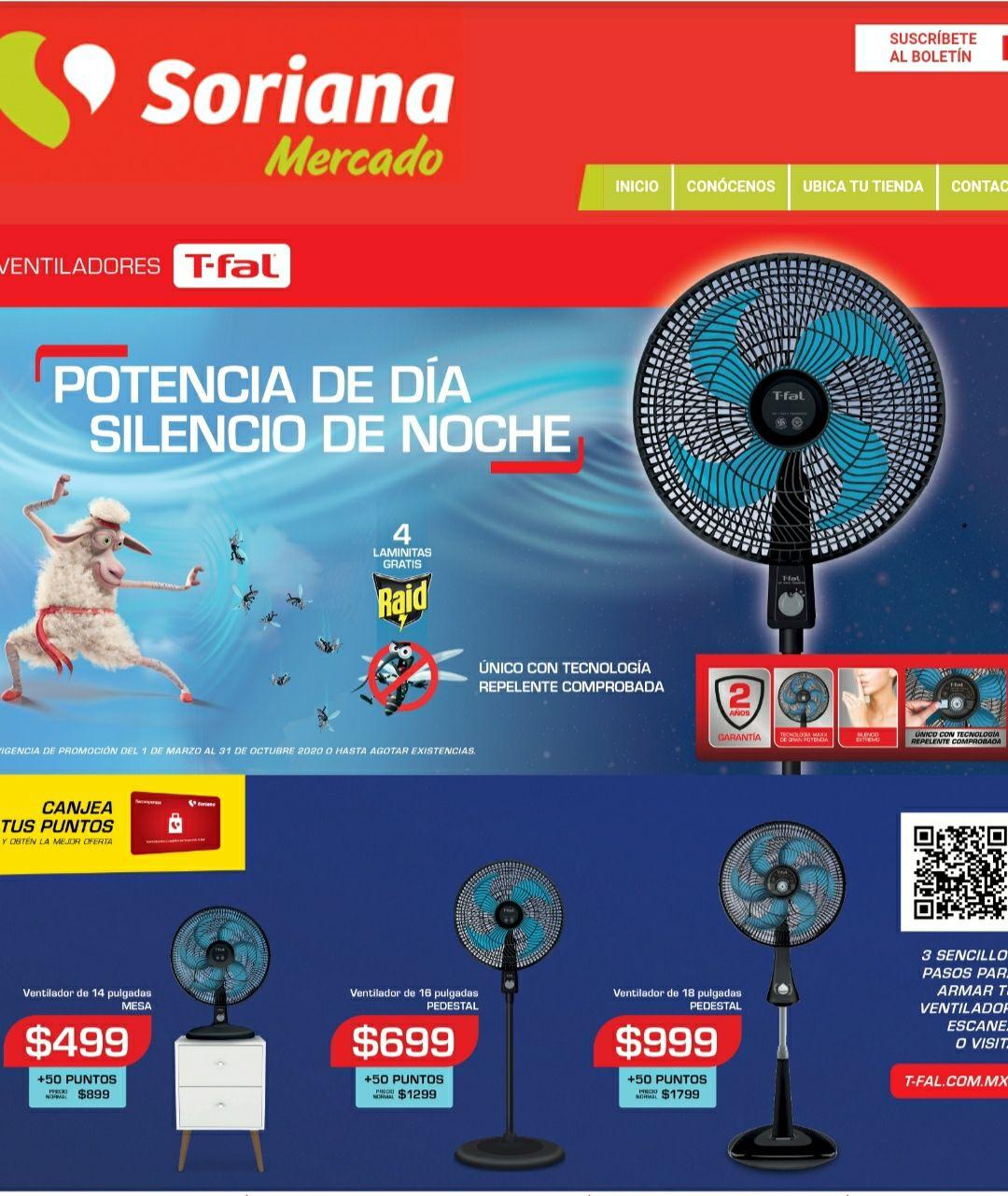 Soriana: Ventilador de pedestal t-fal (solo tarjeta de puntos)