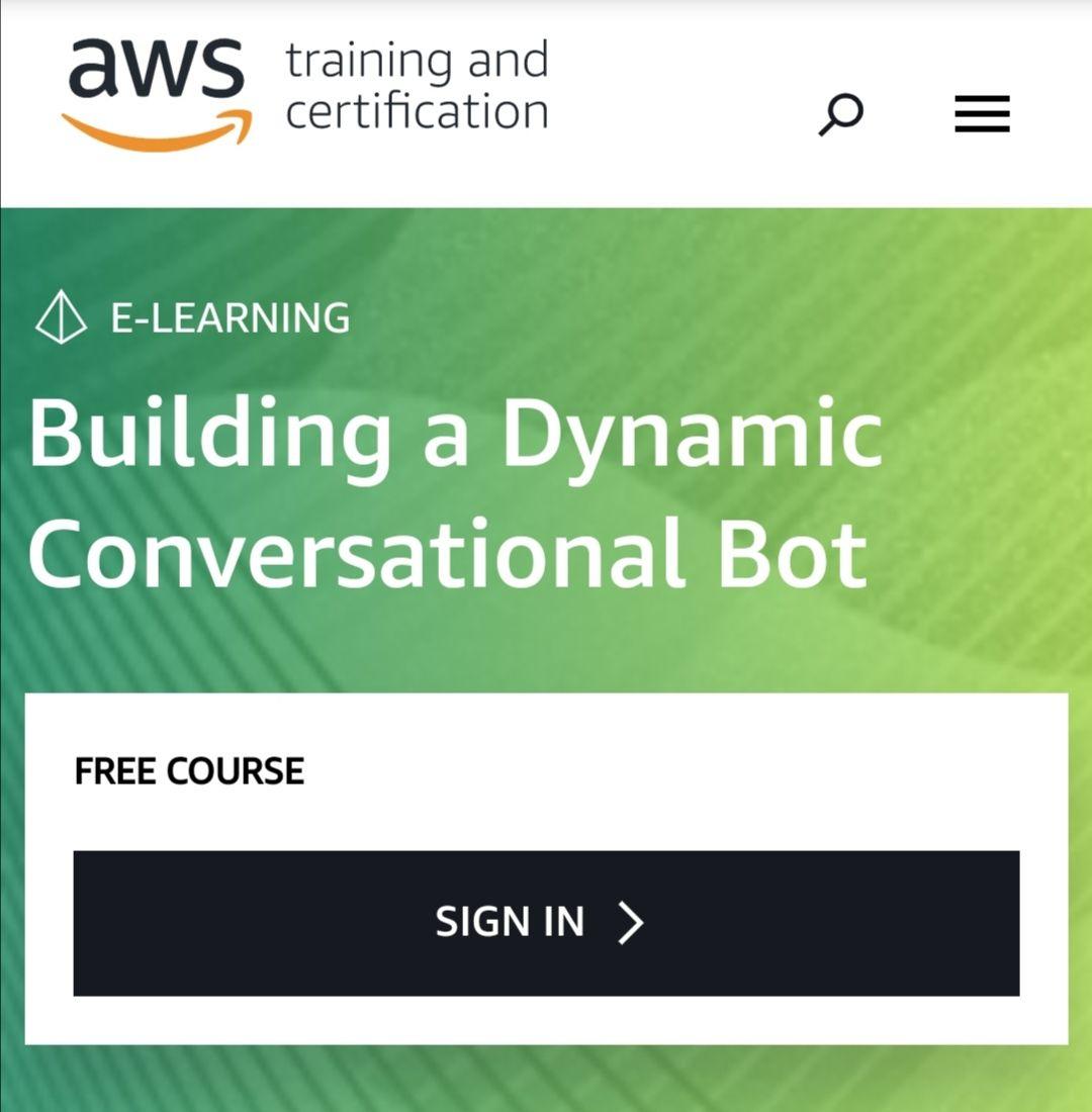 Amazon AWS: Curso gratis para la creación de bot conversacional dinámico (Inglés)