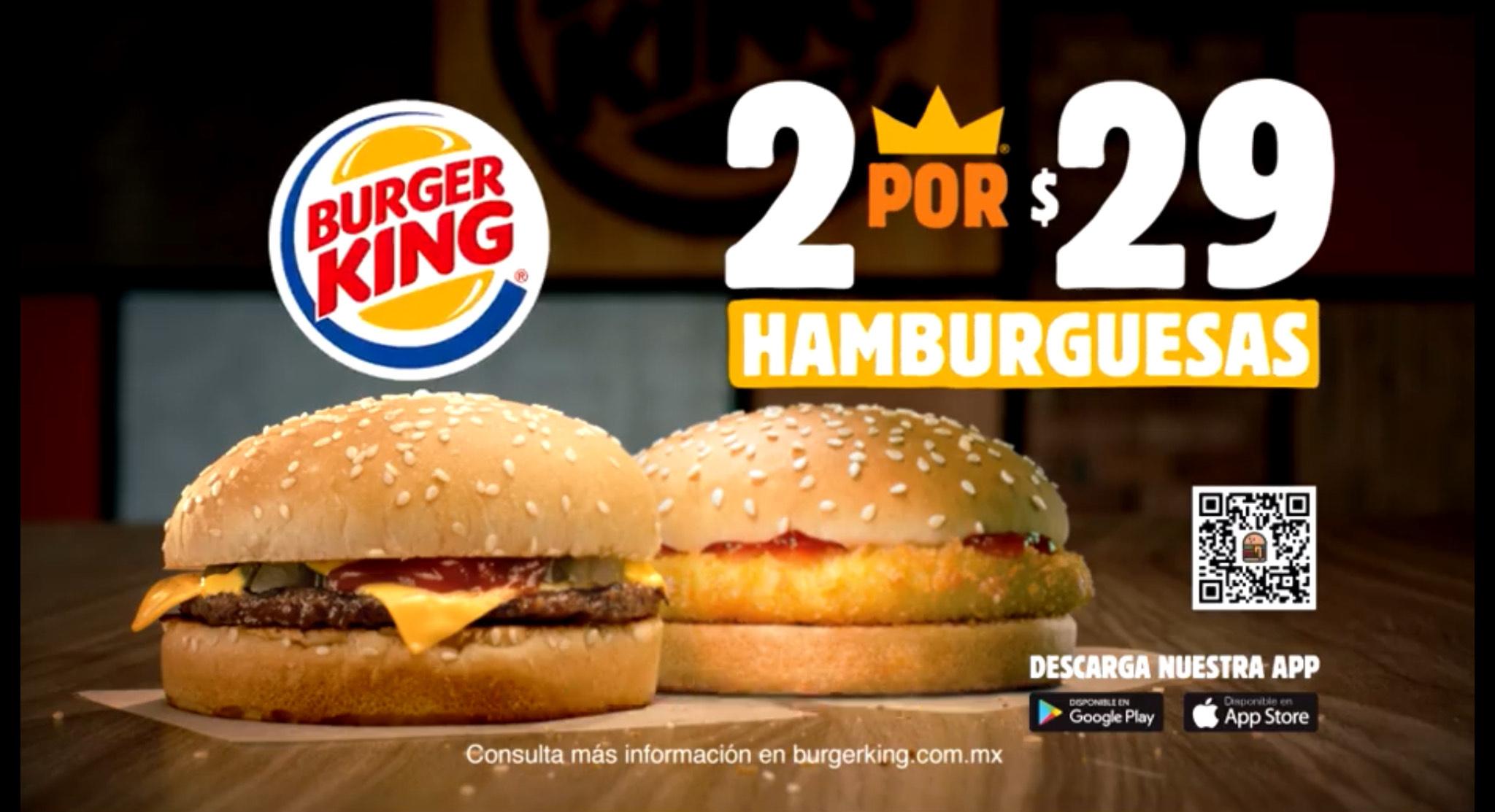 Burger King App: 2x$29 Hamburguesas Carne y/o Pollo