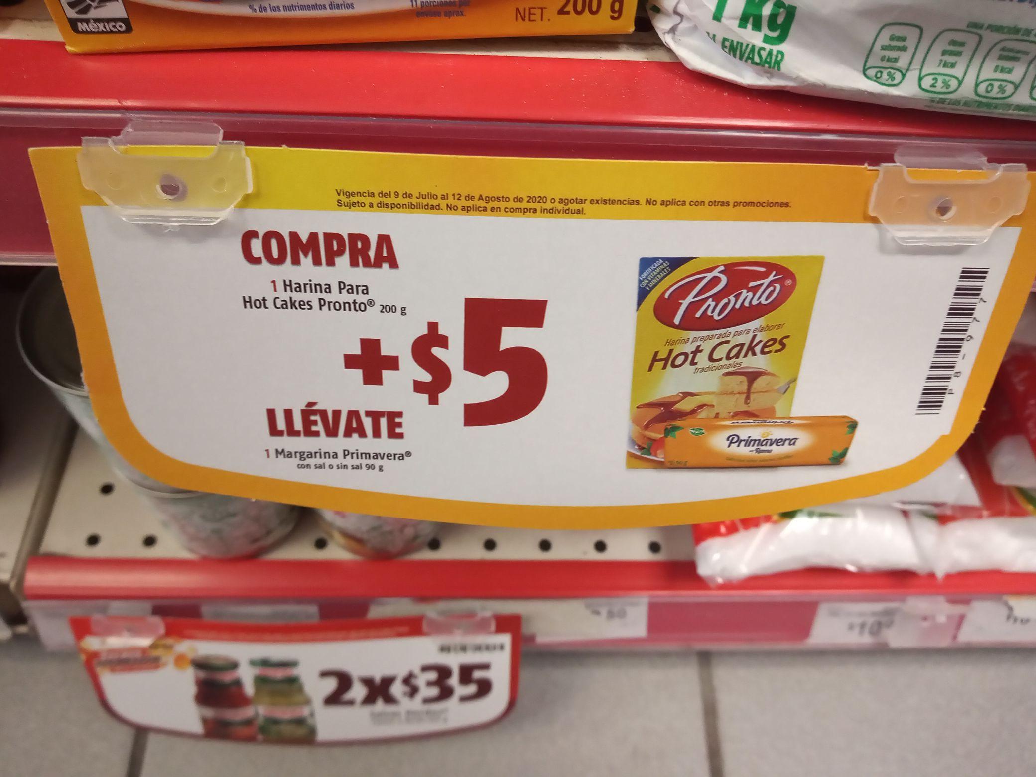 Oxxo: Harina Para Hot Cakes Pronto 250 gr + 5 pesos te llevas Margarina Primavera. Y más promociones