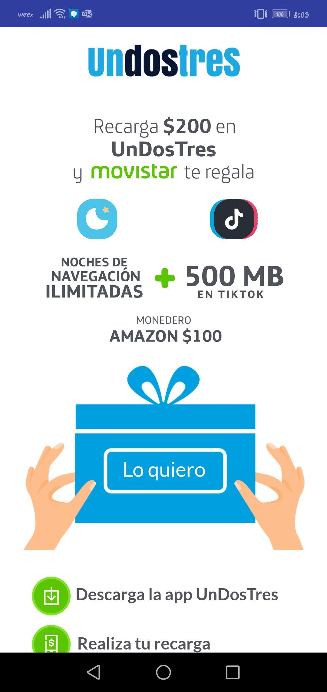 100 pesos en Amazon al recargar 200 Movistar (Unodostres)