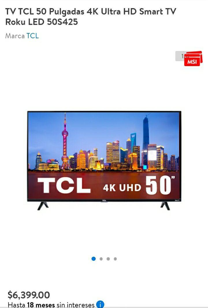 Walmart TV TCL 50 Pulgadas 4K Ultra HD Smart TV Roku LED 50S425