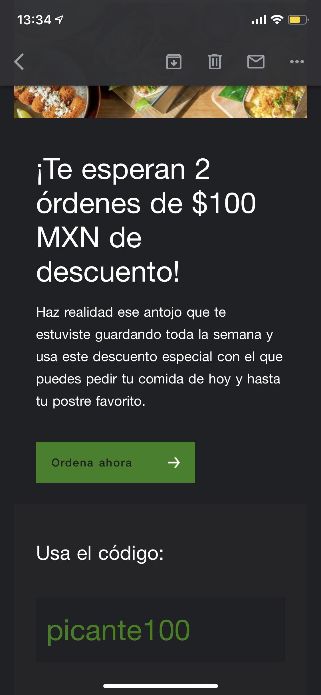 $100 de descuento en Uber eats