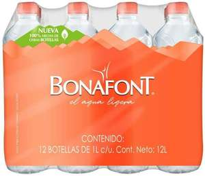 Amazon:Bonafont, Agua Natural, 1litro, 12 Pack