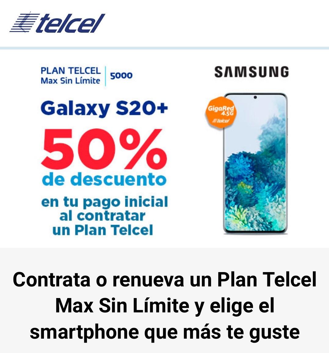 CAC TELCEL S20+ 12789 EN PLAN MAX SIN LÍMITE 1000 $199.00 a 18 Meses