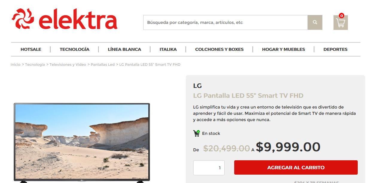 Ofertas Hot Sale Elektra: LG 55 FHD a $9,999.00 o con 2 mensualidades menos con Banamex