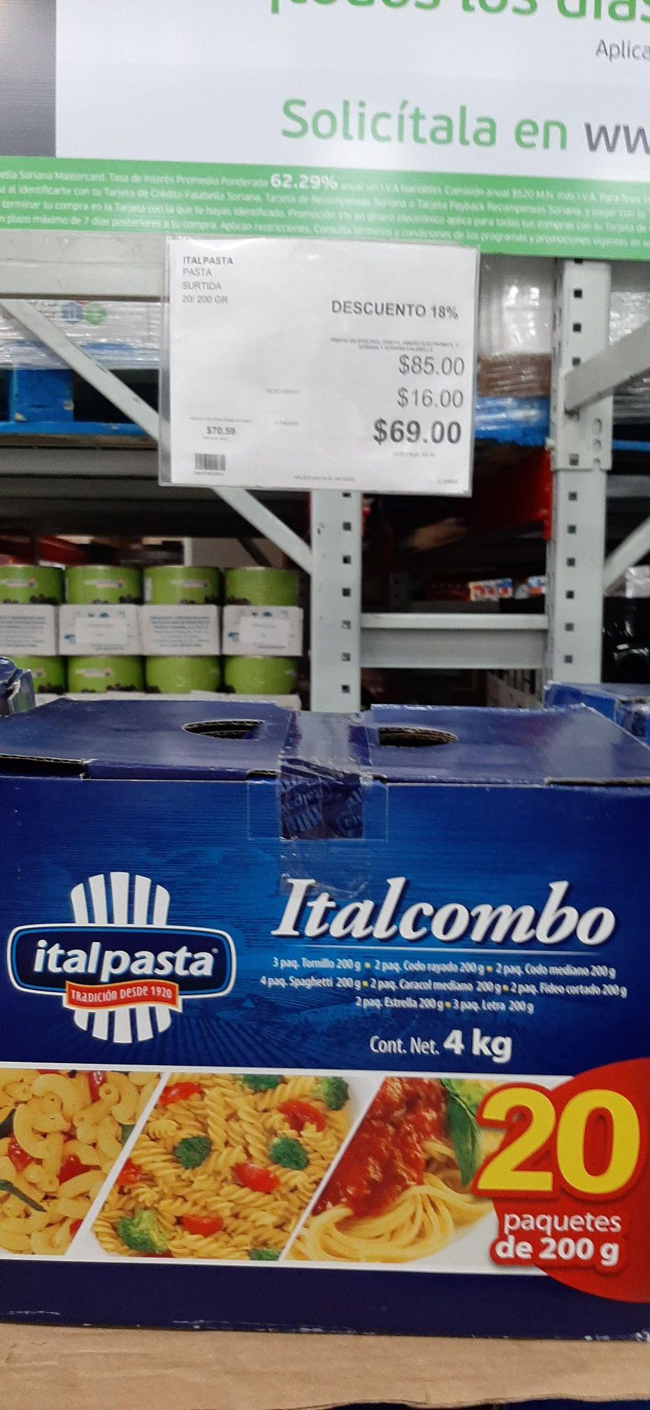 City Club: Paquete de 20 pastas Italpasta
