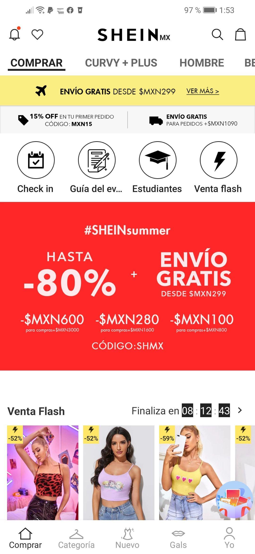 SHEIN descuentos - 80%. + - 15% descuento 1ra vez o estudiante + uso de puntos