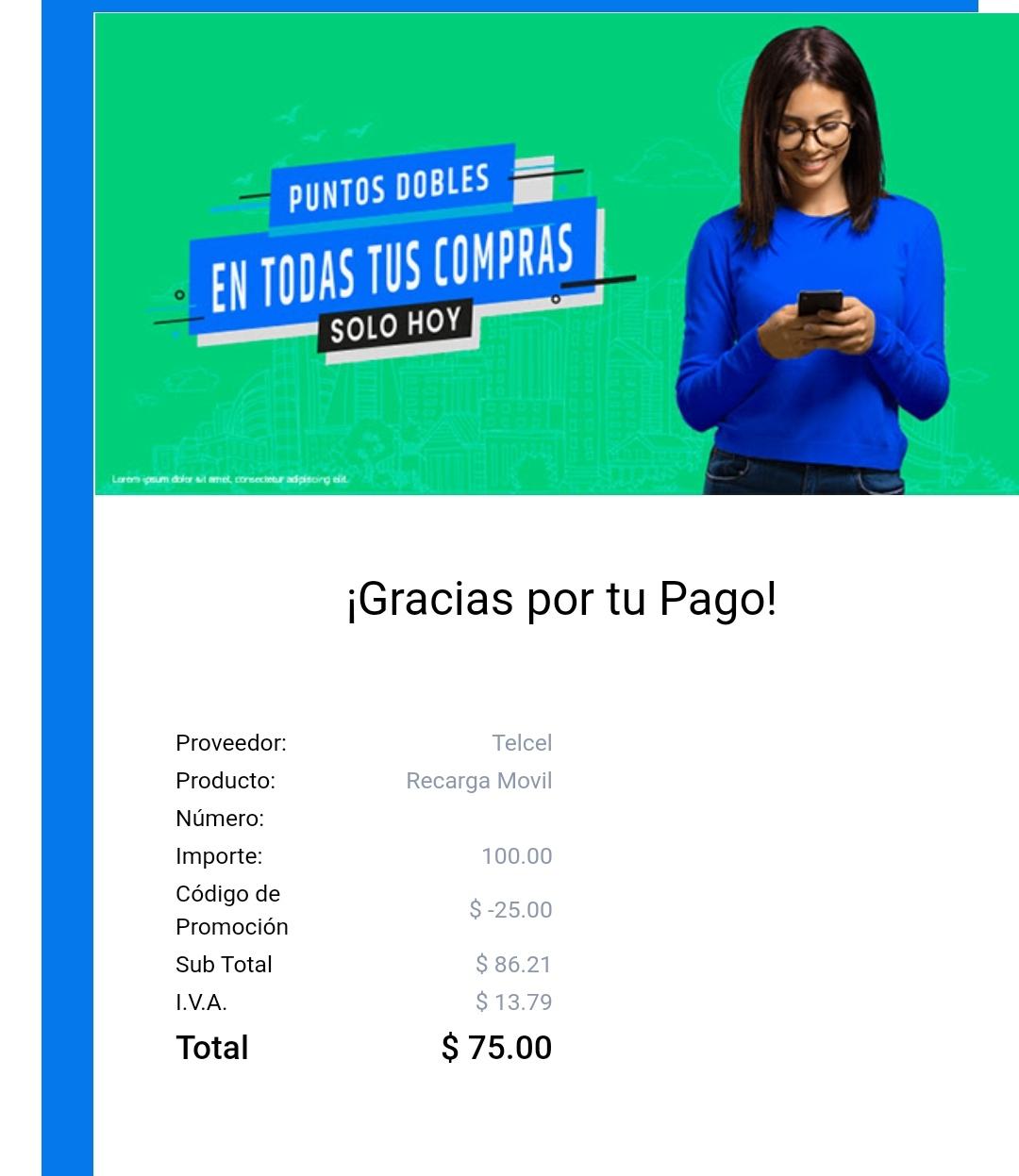Mis Pagos: 25 pesos de descuento en cualquier servicio, aplica en recargas a Telcel