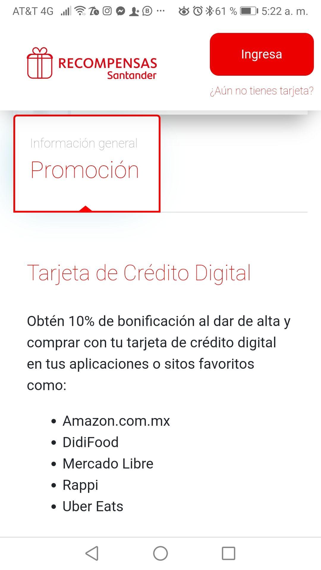 Santander: 10% de bonificación en compras digitales