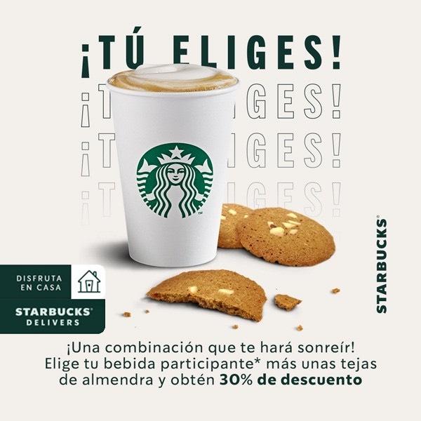 Starbucks: latte o capuccino + tejas con 30% descuento