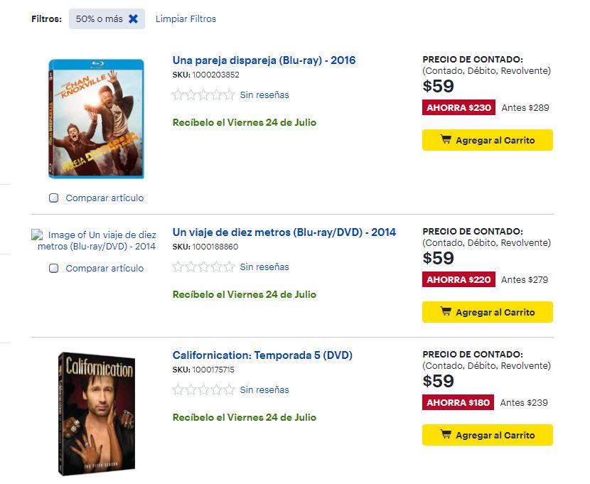 Best Buy: Varios Titulos BLUERAY en 59 con envio gratis