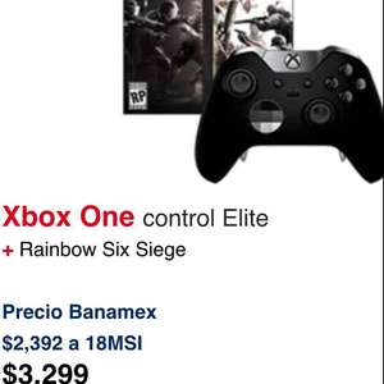 Ofertas Hot Sale Walmart: Control Xbox One Elite + Rainbow Six Siege a $3,299 más promos 18 meses con Banamex
