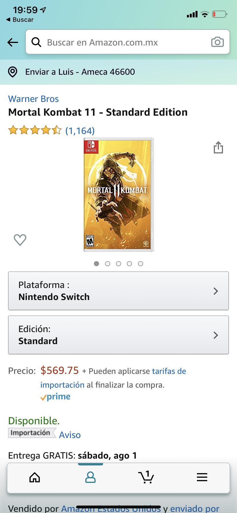 Amazon: Mortal kombat 11 para Nintendo switch