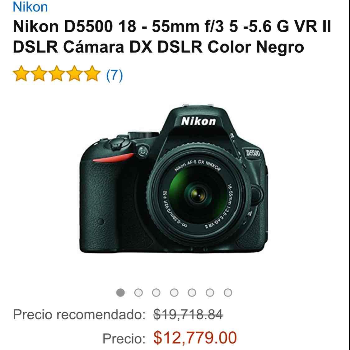 Oferta del Hot Sale en Amazon: Cámara Nikon D5500 a $12,779 ($10,415 con Banamex)