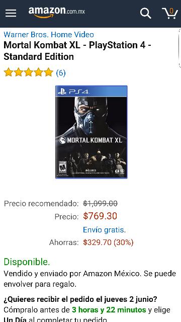 Hot Sale en Amazon: Mortal Kombat XL para PS4 a $769