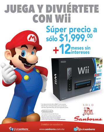 Sanborns: Nintendo Wii a $1,999 y 12 meses sin intereses