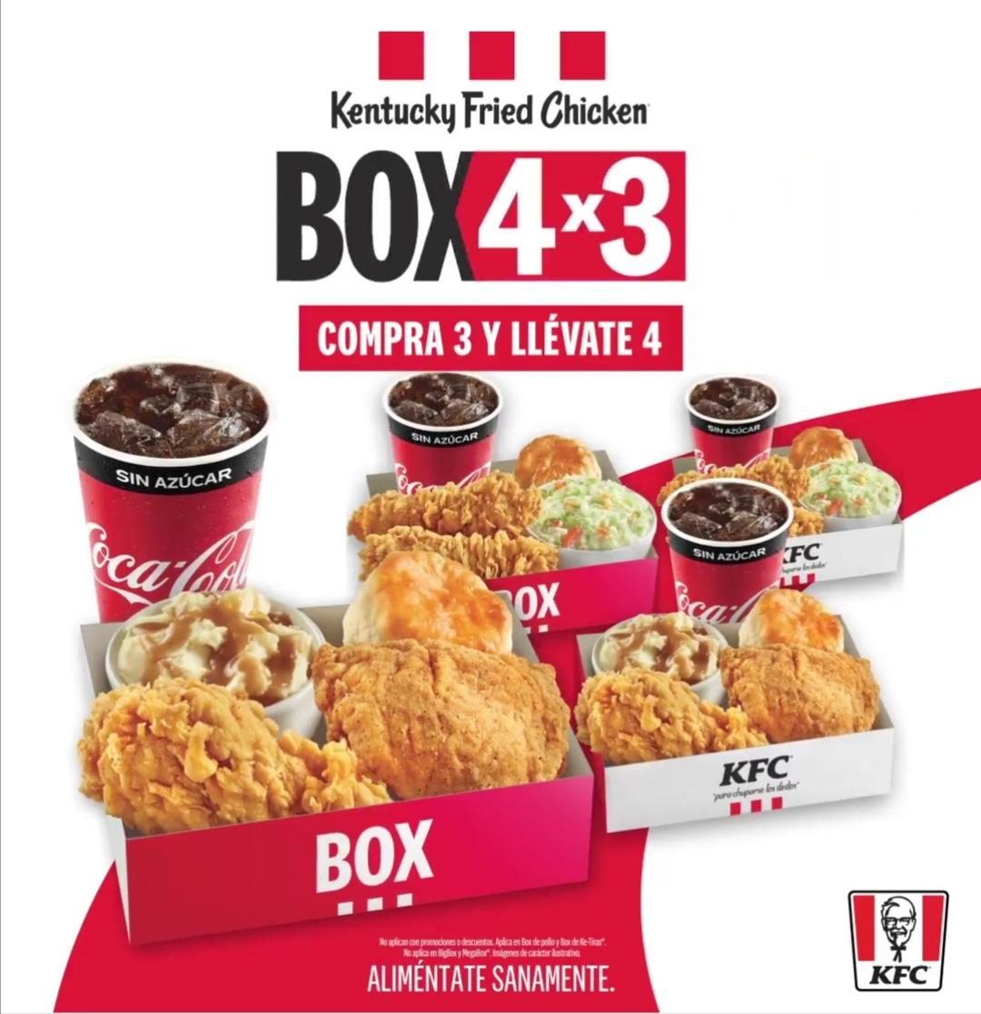 KFC: Compra 3 Box (Pollo o Ke-tiras) y llévate el 4to GRATIS