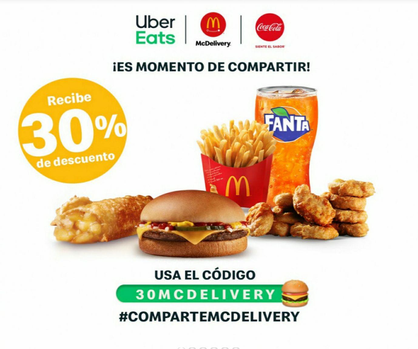 McDonald's en Uber Eats: 30% de Descuento