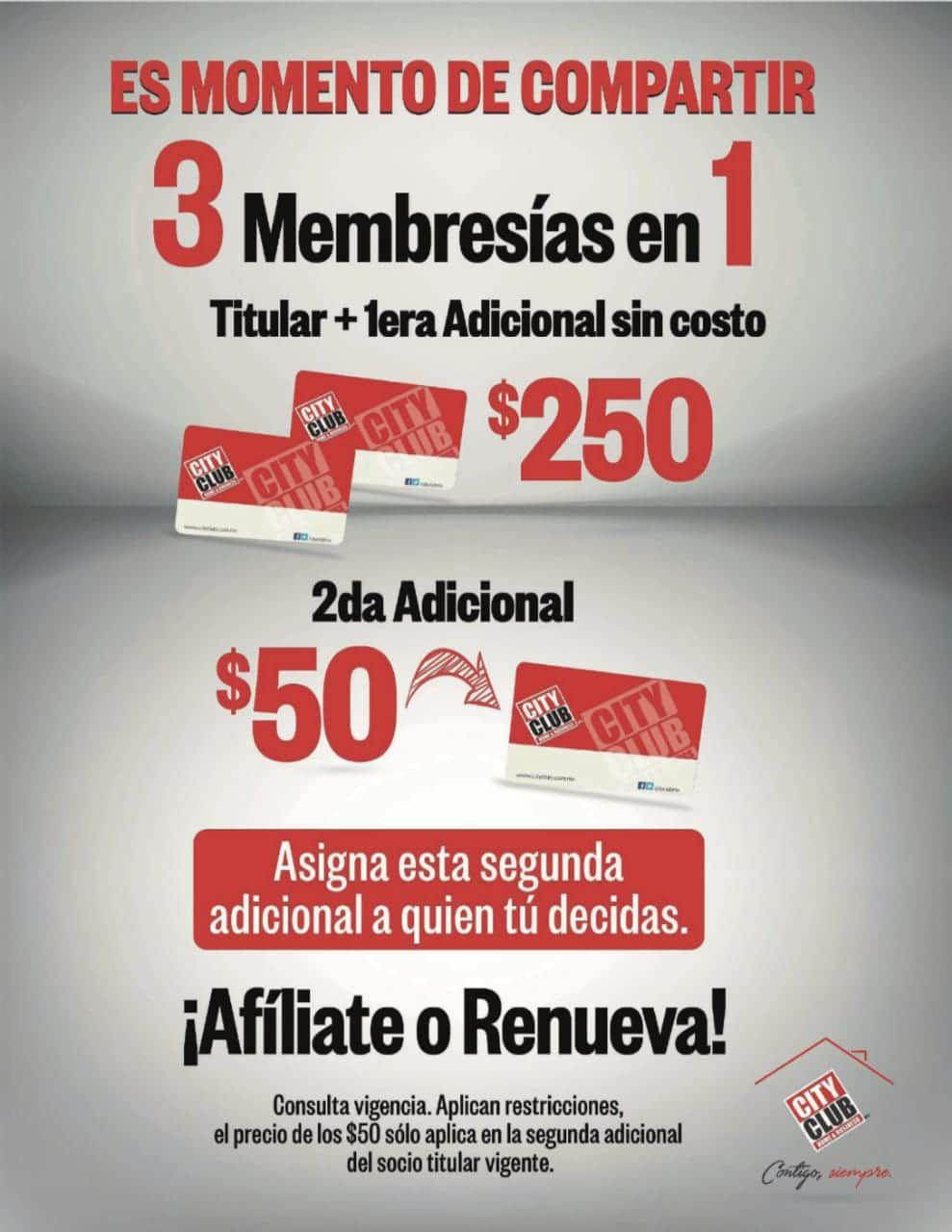 City club 3 membresías en 1 y $50 pesos otra adicional