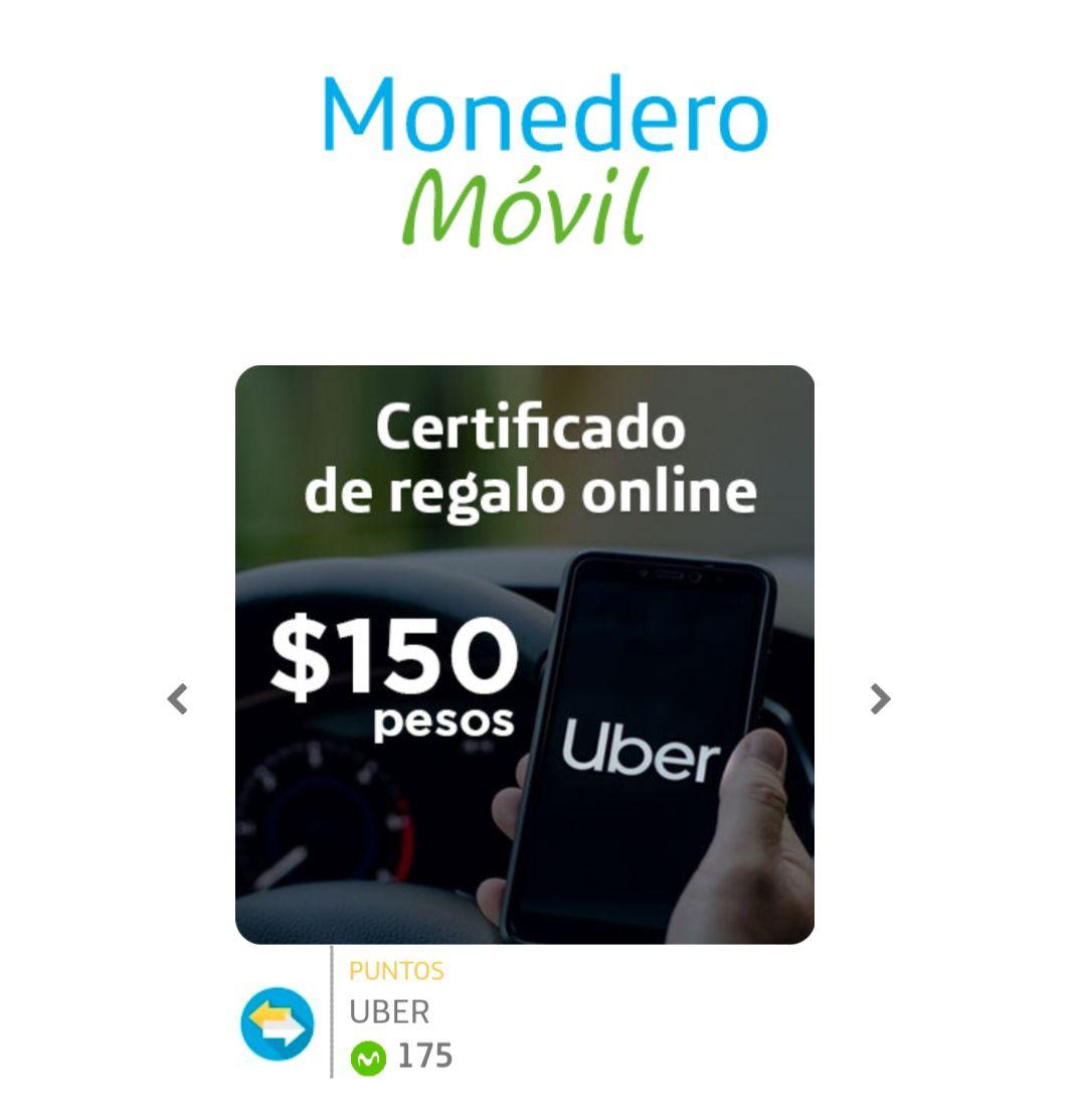 Cupón de Uber con recompensas Movistar Con 175pts