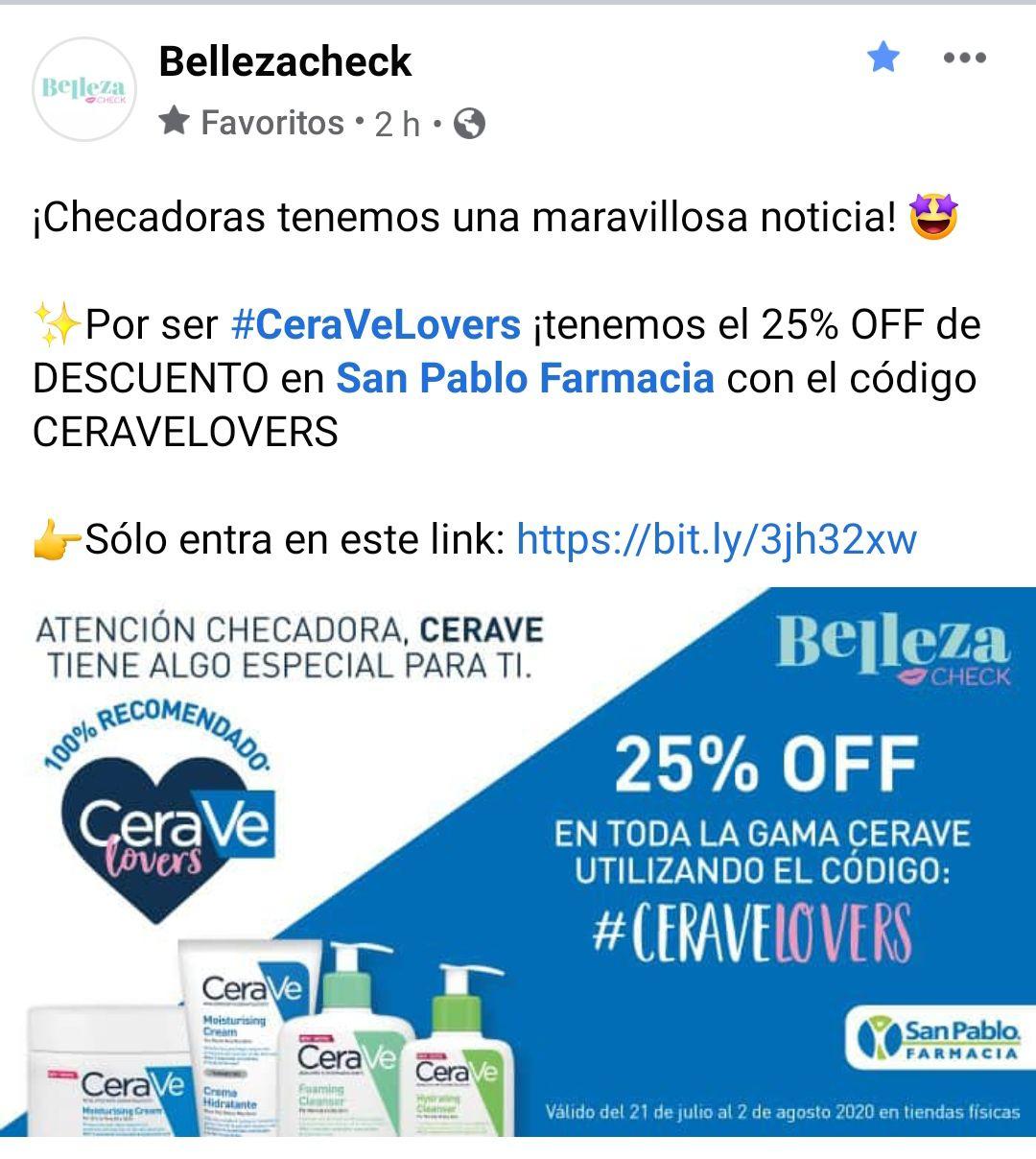 Farmacia San Pablo: 25% OFF en Cerave