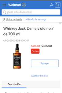Walmart: Whiskey Jack Daniels old no.7 de 700 ml