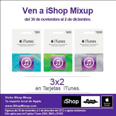 iShop Mixup: 3x2 en tarjetas iTunes (también en Mixup)