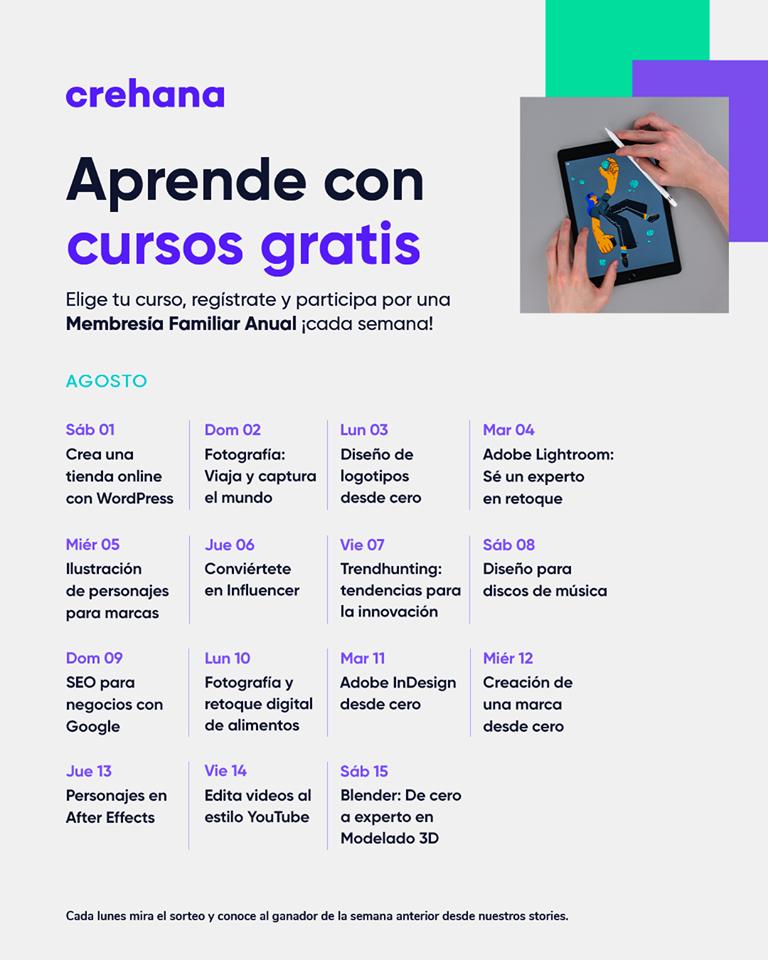 Crehana: Cursos gratuitos por 24 horas del mes de agosto
