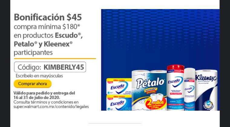 Walmart en linea. Bonificación $45 compra mínima $180 Productos Escudo, pétalo Y Kleenex.