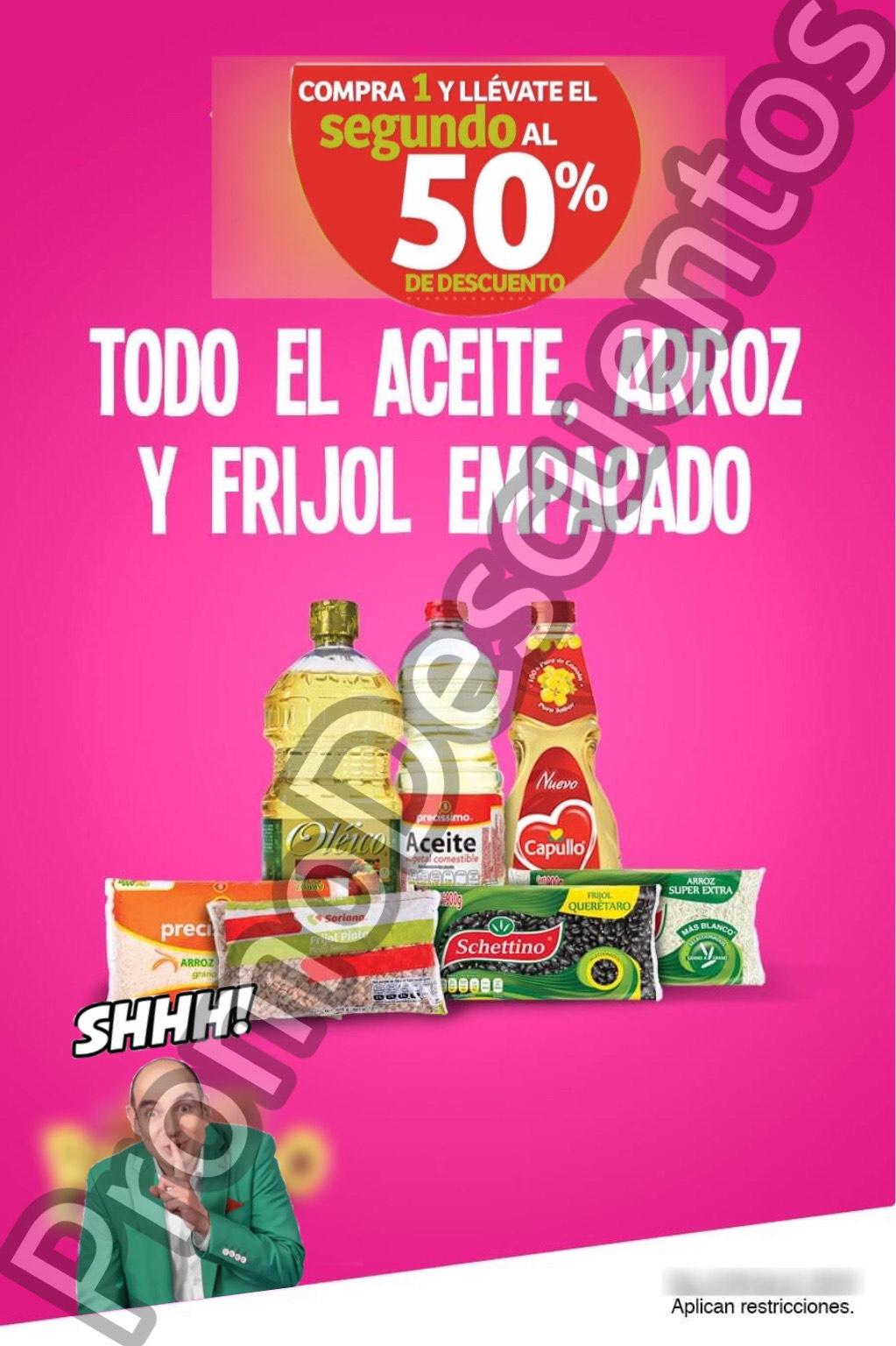 Julio Regalado 2020 en Soriana: Segundo al 50% en Aceites Comestibles, Arroz, Frijol y Semillas
