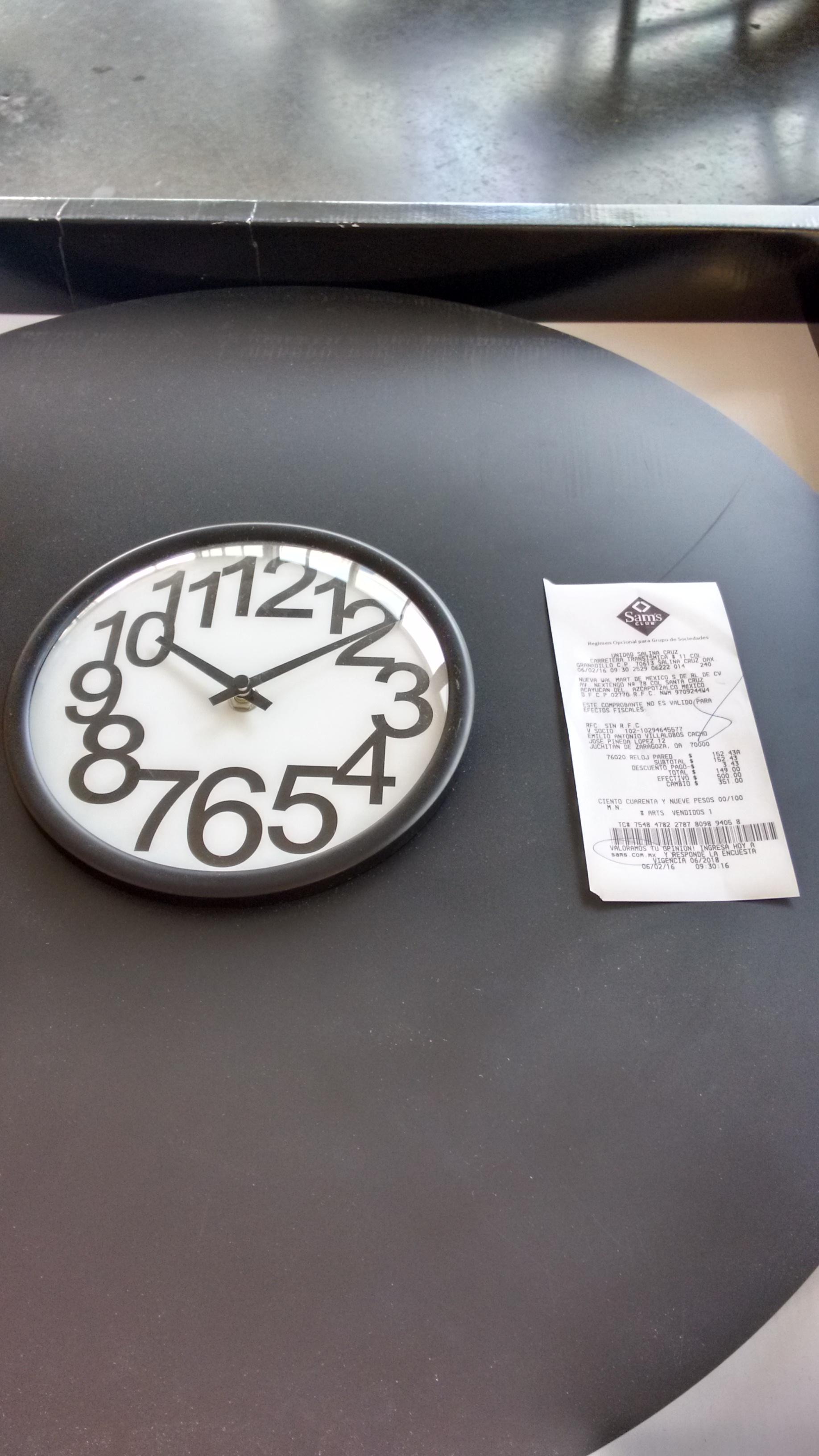 Sam's Club Salina Cruz: Bonito reloj de pared grande a $150