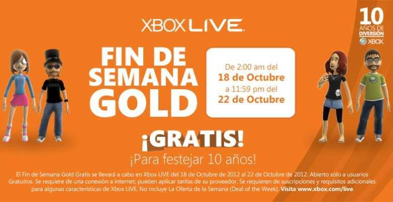 Fin de semana Xbox Live Gold gratis