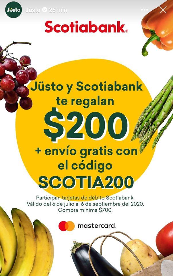 Jüsto: 200 pesos GRATIS y envio GRATIS en compras superiores a 700 pesos pagando con Scotiabank debito