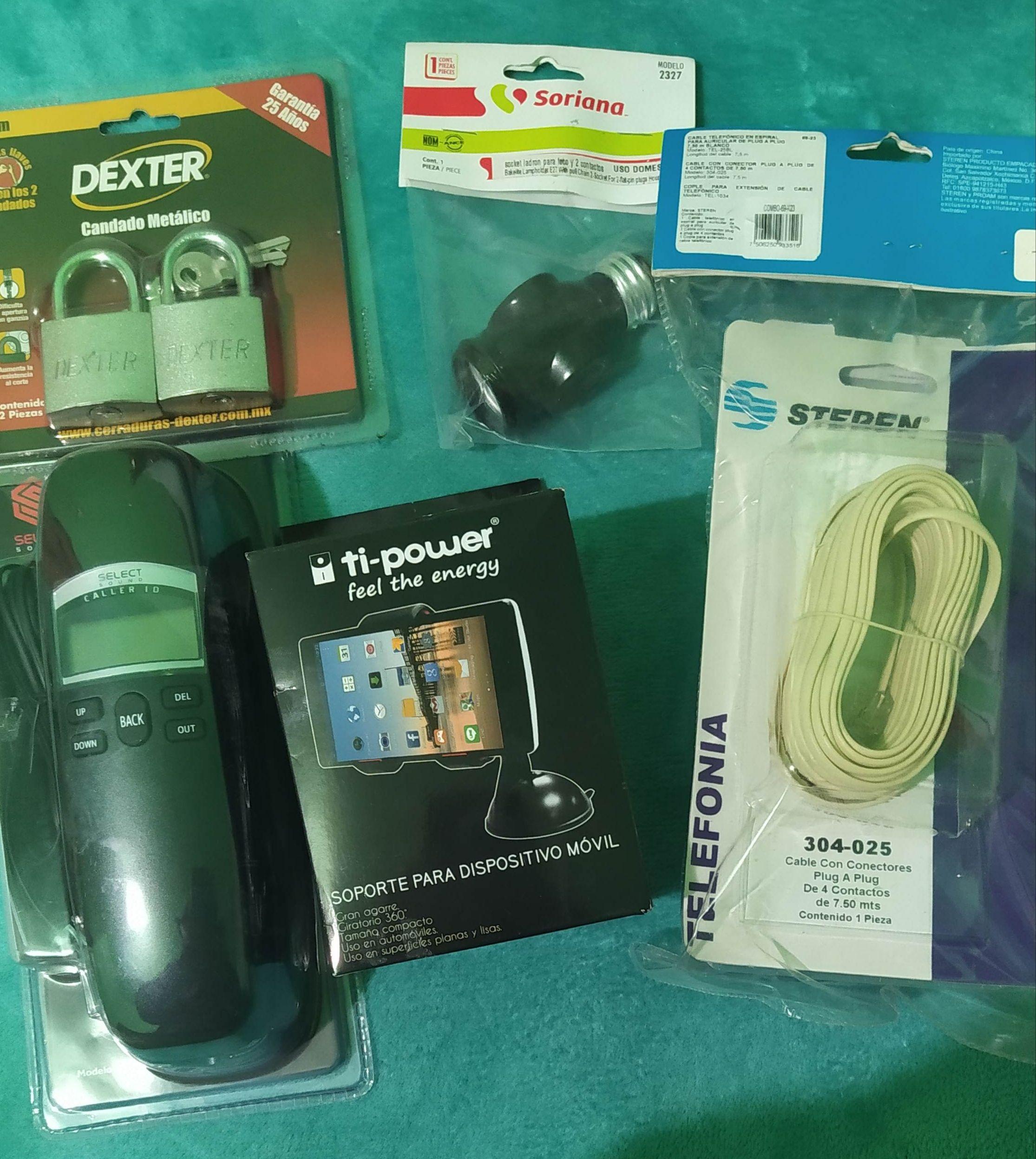 Soriana Metepec Plaza las Américas: Candado, teléfono, combo cable, soportes para teléfono, ladrón, cubrevolante auto y más