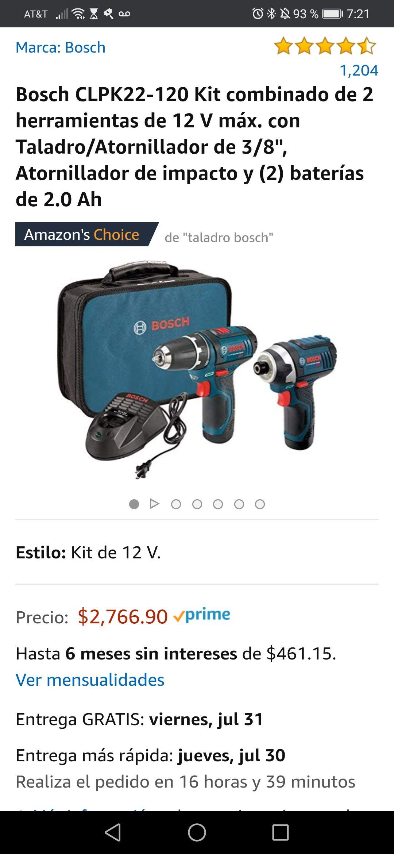 """Amazon: Bosch CLPK22-120, 2 herramientas de 12 V máx. con Taladro/Atornillador de 3/8"""", Atornillador de impacto y 2 baterías"""