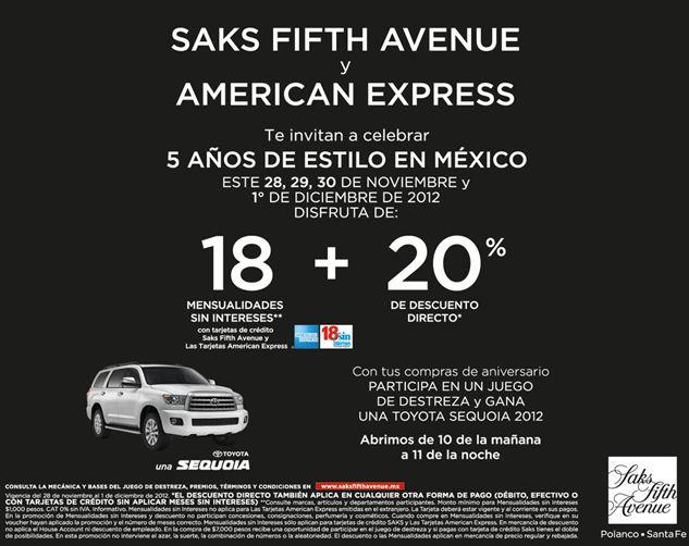 Saks Fifth Avenue: 20% de descuento y 18 meses sin intereses en toda la tienda