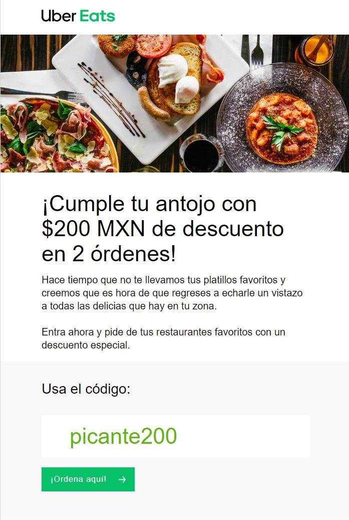 UBER Eats: $200 de descuento para Usuarios Seleccionados