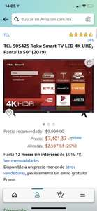 TCL 50 Pulgadas 4K Ultra HD Smart TV Roku LED 50S425 (Pagando con tarjeta digital Banorte)