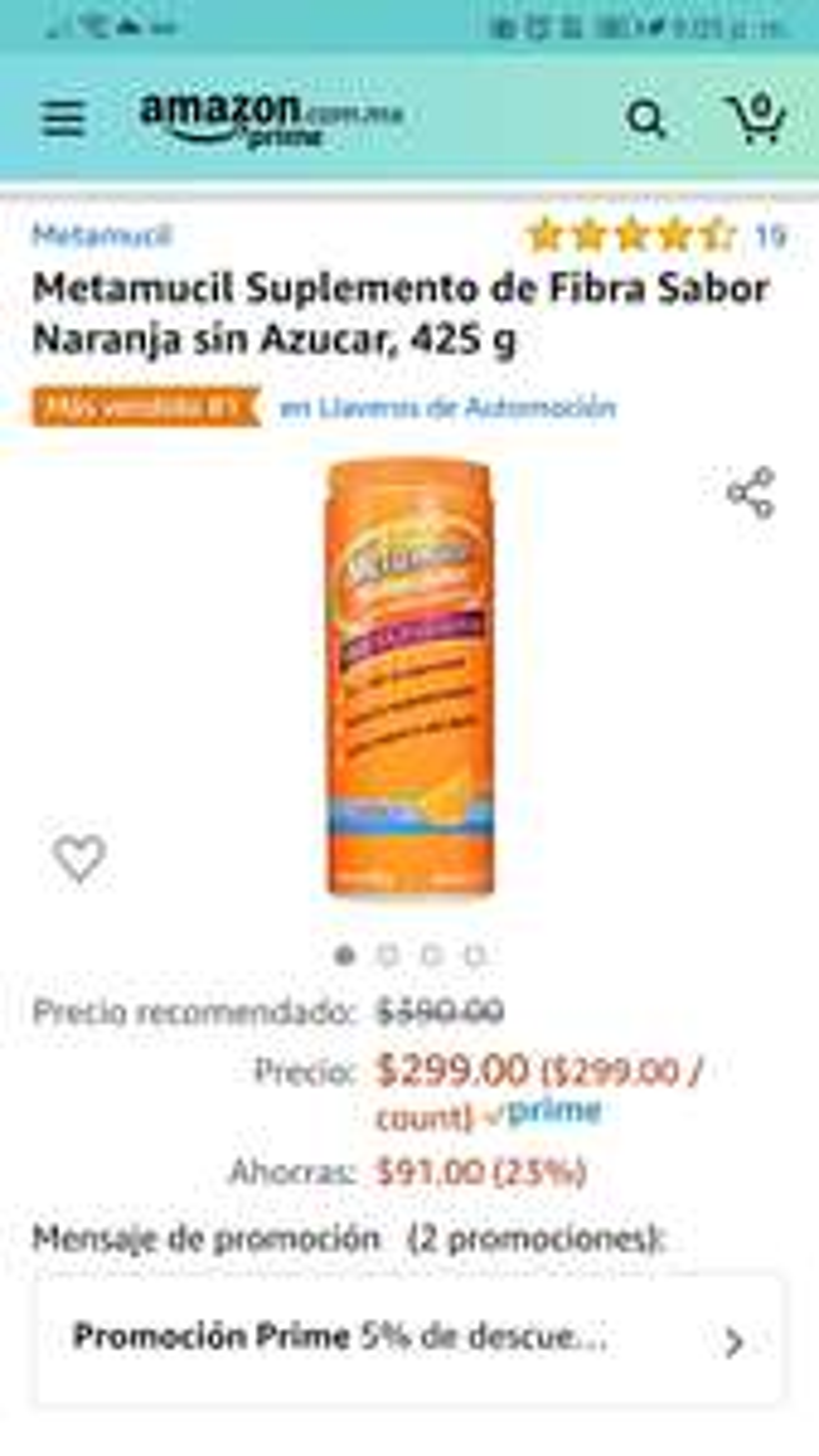 Amazon: Metamucil 425g puedes restar otro 5% a 10% si necesitas más compras de super