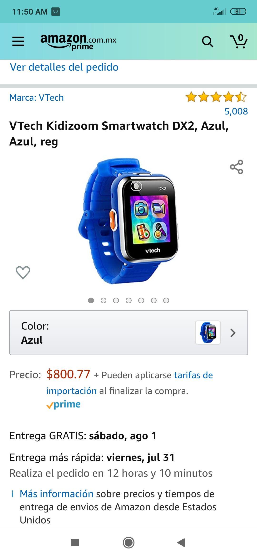 Amazon: reloj inteligente para niños VTech Kidizoom Smartwatch DX2, Azul, Azul, reg