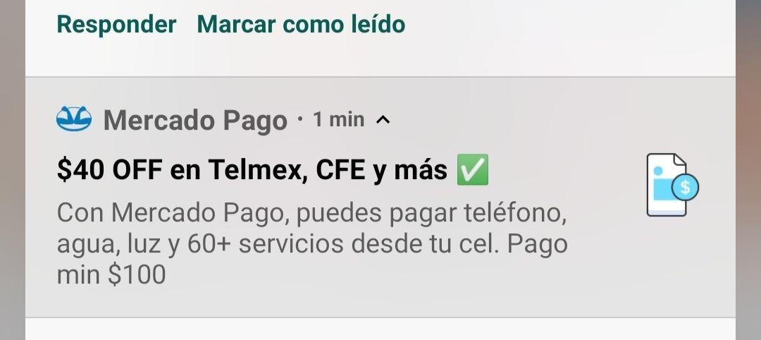MercadoPago - descuento de $40 pagos servicios usuarios seleccionados