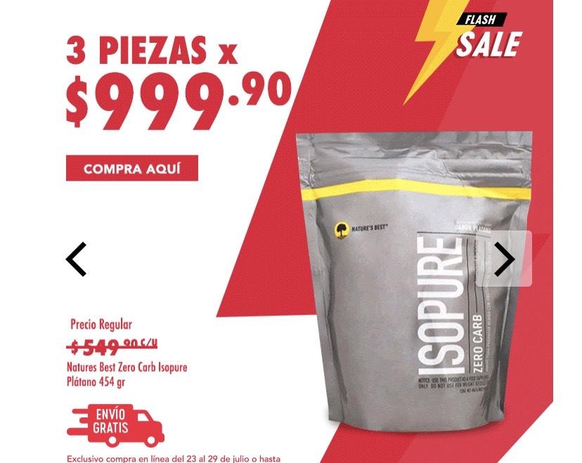GNC: Isopure proteína 454grs 3X $999