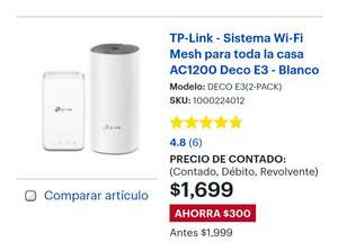 Bestbuy: Tp-Link Deco E3 (2 pack) Sistema Mesh WiFi en $1699