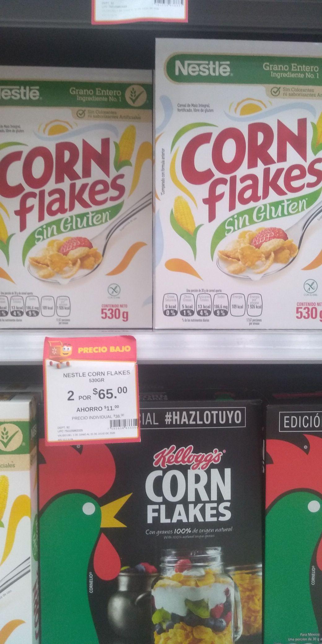 """Walmart: Corn flakes """"sin gluten"""" (NESTLE)."""