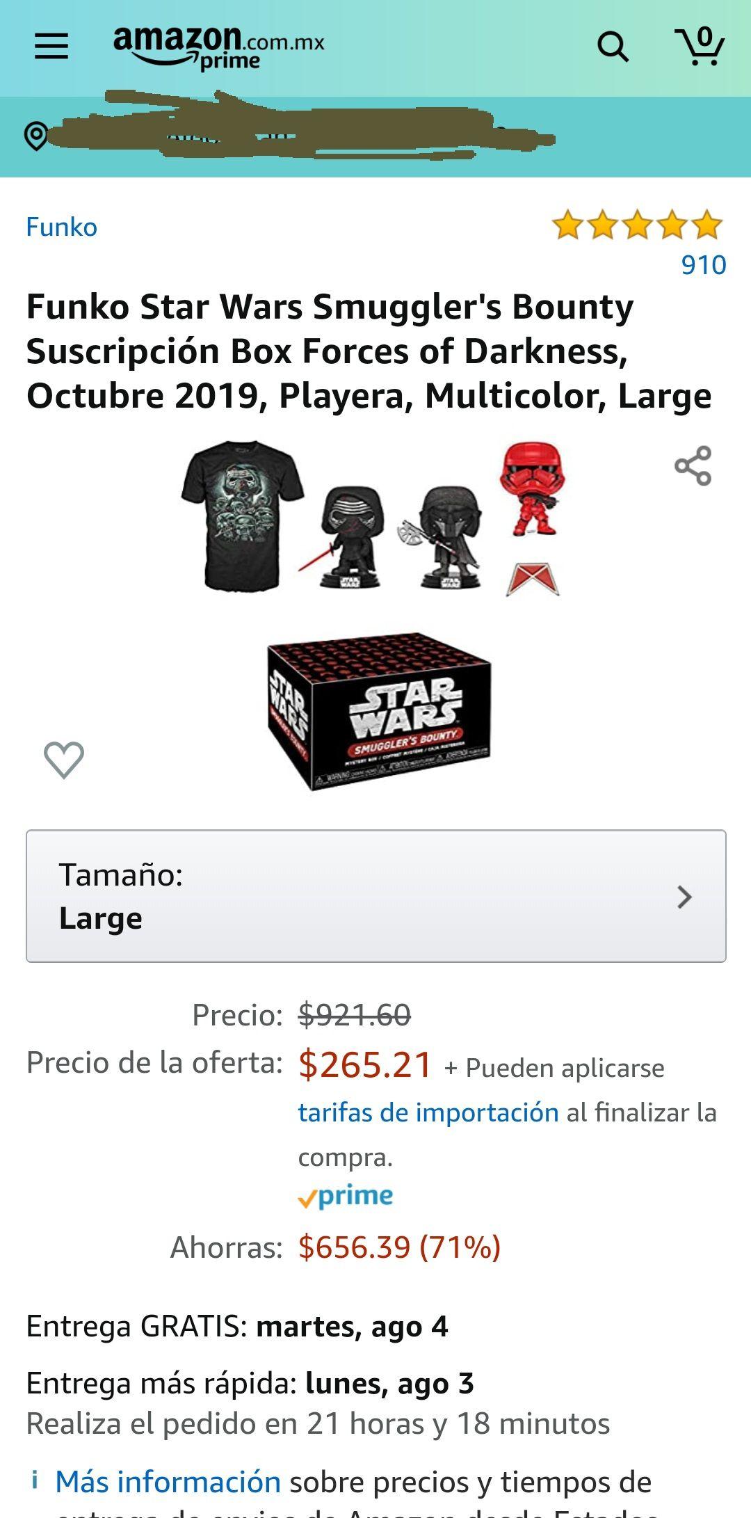 Amazon: Funko Star Wars. Caja sorpresa con playera en varias tallas.