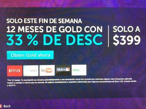 33% de descuento en suscripción anual de Xbox Live Gold